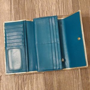 FOSSIL Metallic Gold Wallet Leather